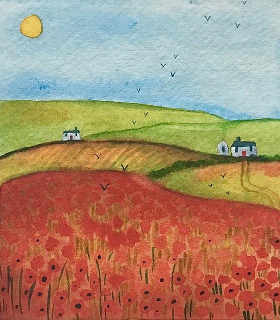 Poppy Fields, watercolour painting