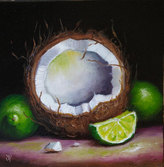 Coconut with limes still life