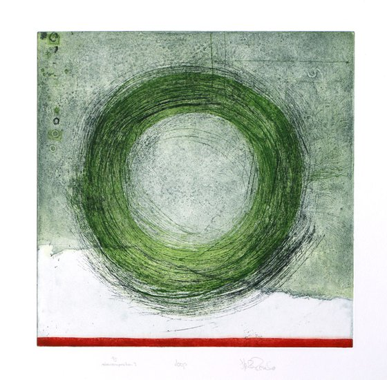 """Heike Roesel """"Loop"""" (colour composition 3) fine art etching in edition of 5"""