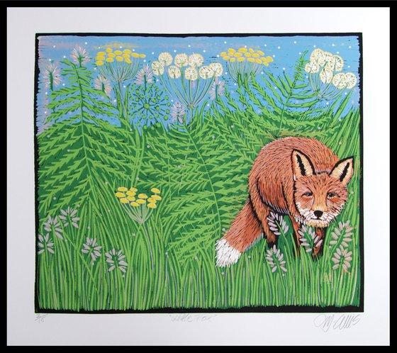 Little Fox, large linocut reduction