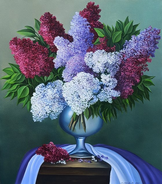 Still life with lilacs (40x50cm, oil painting, ready to hang)
