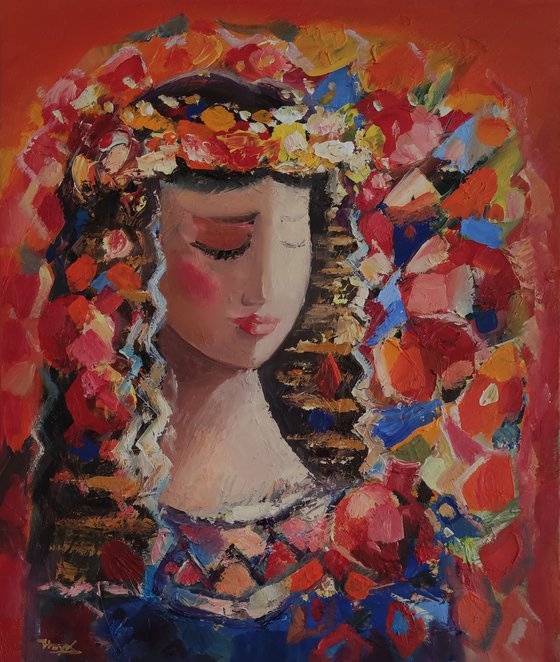 Girl with pomegranate-2 (50x60cm ,oil/canvas, portraiture, ready to hang)