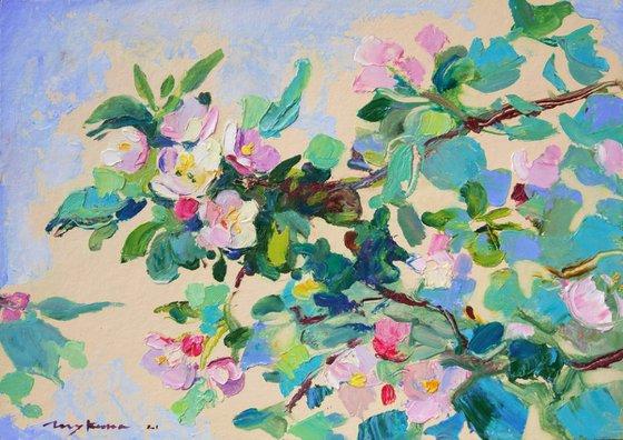 Blooming apple tree branch. Original oil painting