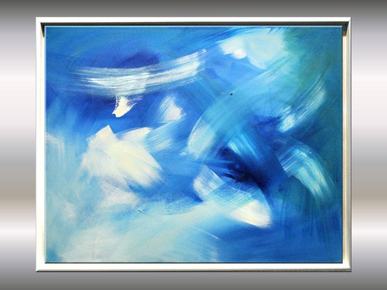 Summersky - Abstract - Acrylic Painting - Canvas Art - Framed Painting - Ready to Hang FREE SHIPPING