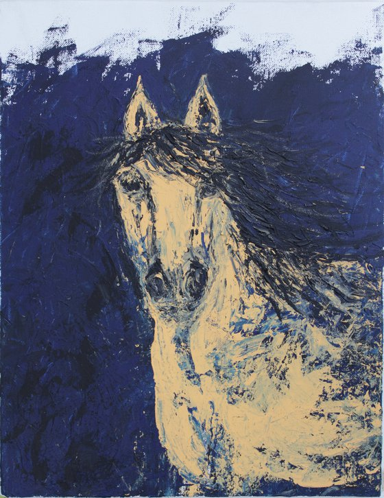 Horse Painting - 1 - Equine Series - horse acrylic painting on stretched canvas - impasto-palette knife painting