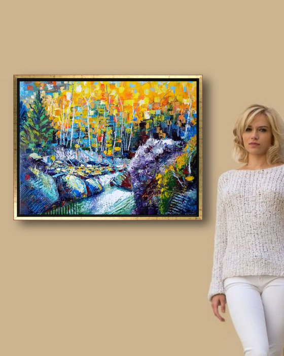 Impressionist Autumn Acrylics Painting Original, Semi Abstract Fall Landscape, Forest and Rocks and White Water Nature Scene Wall Art