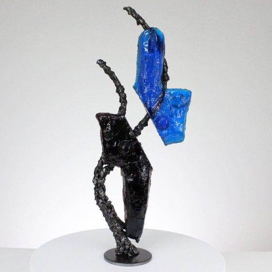 Idol CLXVI - Metal sculpture body molten glass and steel