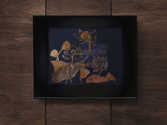 Golden-blue lotus flowers