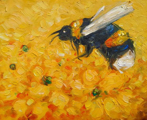Small pictures series -39- Bee- 2(24x20cm, oil painting, ready to hang)