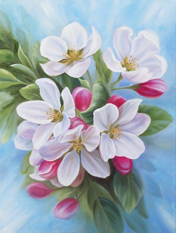 """Apple blossom"", original floral artwork, nature painting"