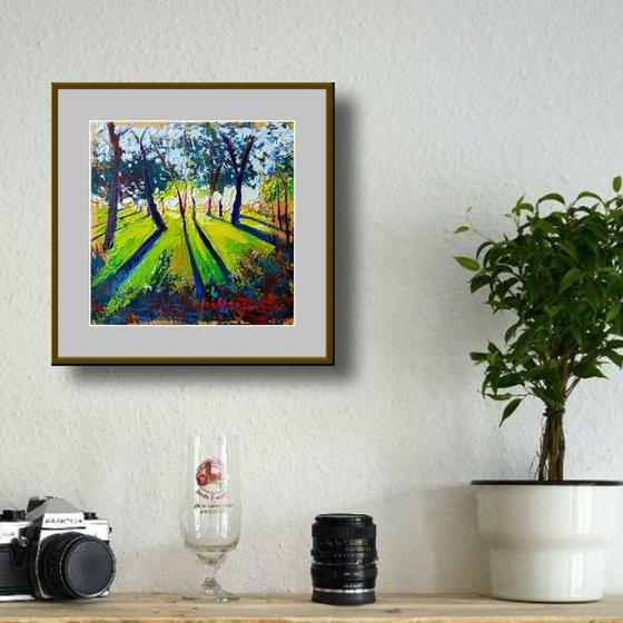Green Summer Landscape Original Oil Painting on Panel, Small Impressionist Landscape on Wood Board