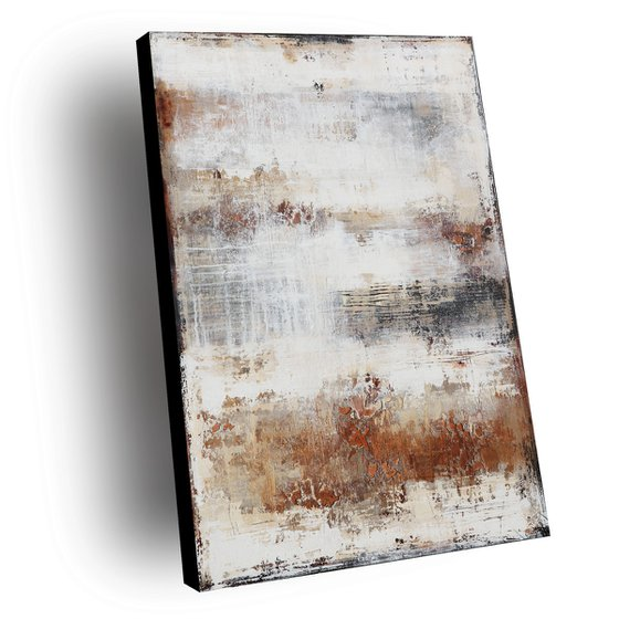 PAST SEPTEMBER - ABSTRACT ACRYLIC PAINTING TEXTURED * WHITE * OCHRE * RUST