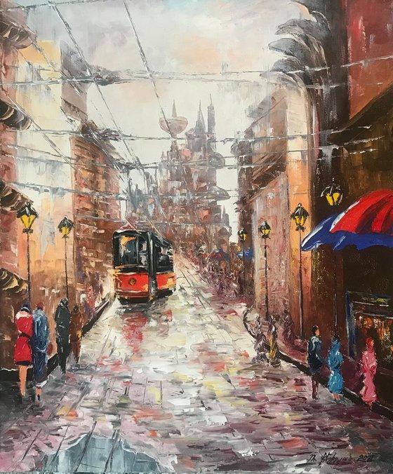 City life (50x60cm, oil painting, impressionistic)