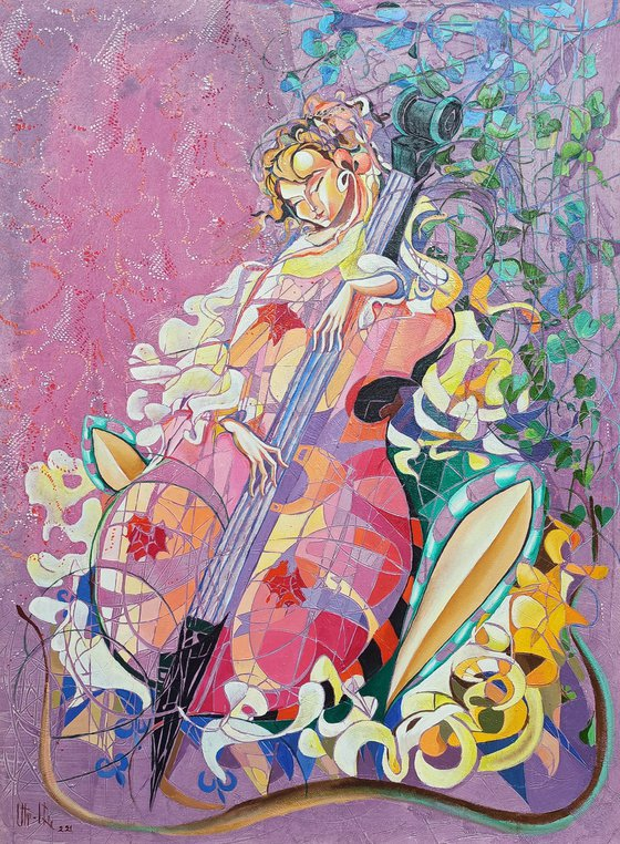 Soul music (60x80cm, oil painting, modern art, ready to hang, music painting)