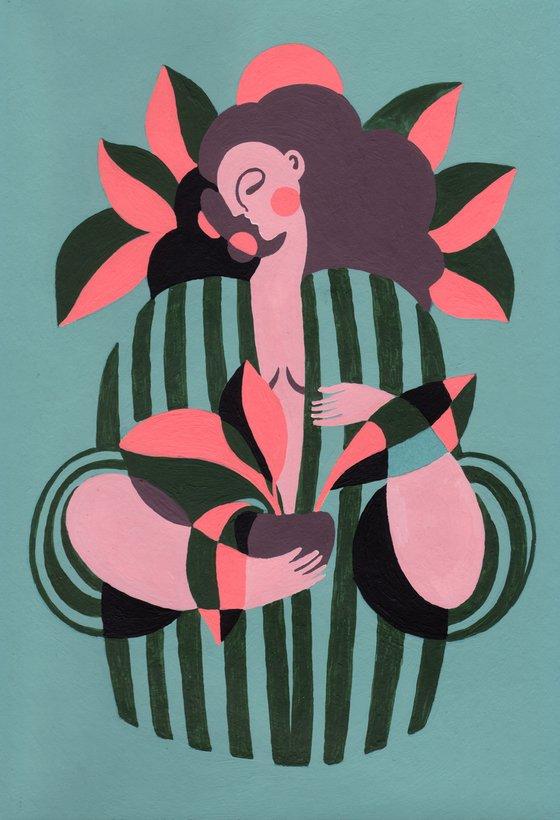 GIRL IN GREEN ROBE