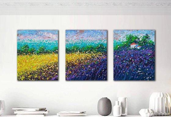 "Provence Lavender field Summer purple meadow Field of flowers - READY TO HANG - Triptych 20"" x 47"" / 50 x 120 cm."