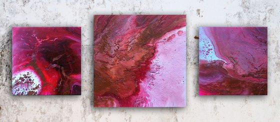 """""""Evolution In Red"""" - Save As Series + FREE USA SHIPPING - Original Triptych, Abstract PMS Acrylic Paintings Series - 46"""" x 20"""""""