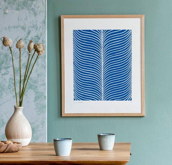 Plume (Blue Geometric Linocut Print)