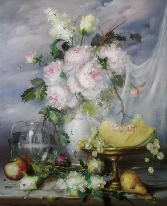 Still life with flowers and fruit (Artwork to order)