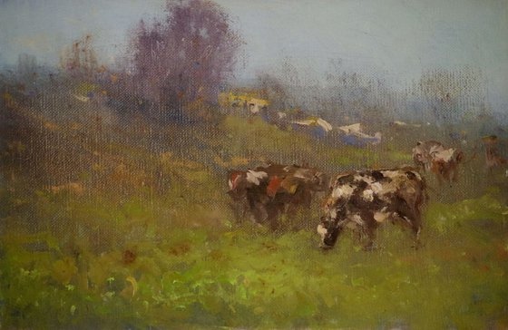 Cows in the Meadow, Landscape, Original oil Painting, Impressionism, Signed, One of a Kind