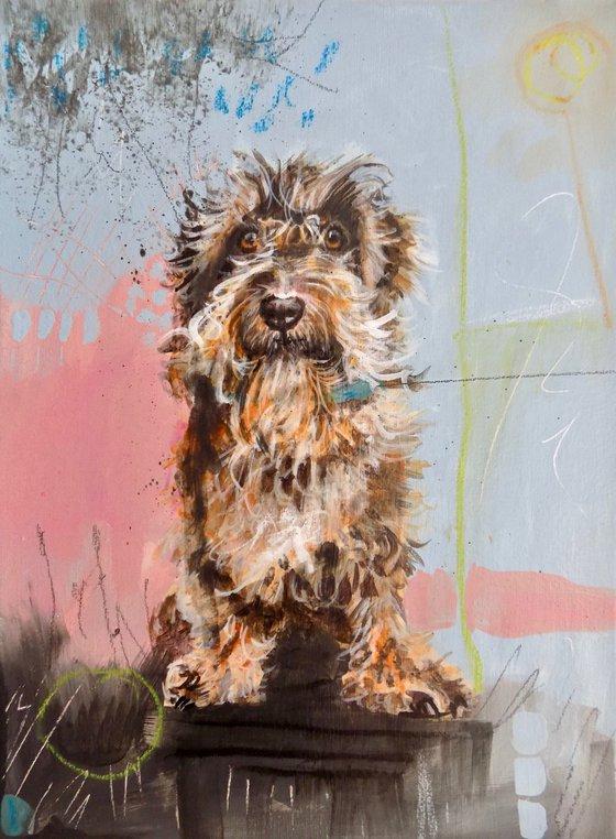 Wirehair dachshund painting called 'Scruffy Days'