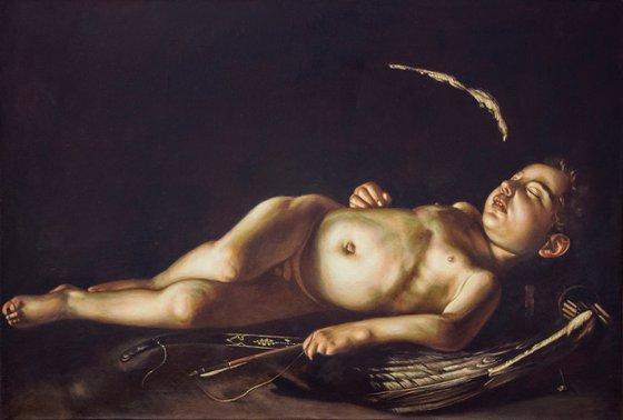 """Master copy after Caravaggio """"Amorino dormiente"""""""