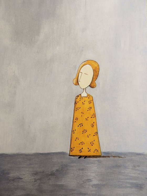 The Lady in yellow- oil on paper