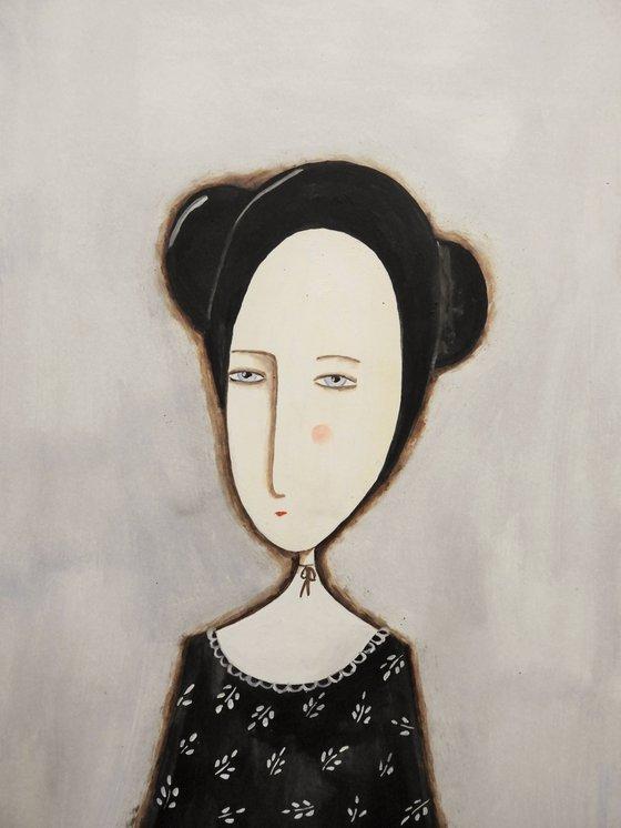 The girl in black - oil on paper