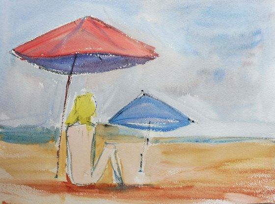 NUDE BLONDE GIRL BEACH. Original Female Figurative Watercolour Painting.