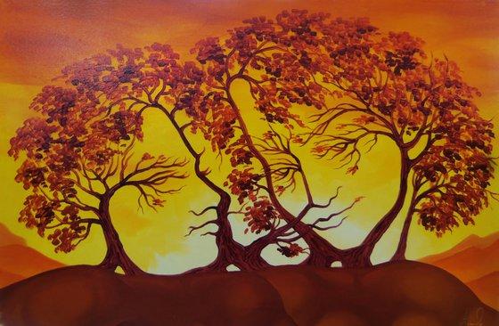 Lovers 60x40cm, oil painting, surrealistic artwork