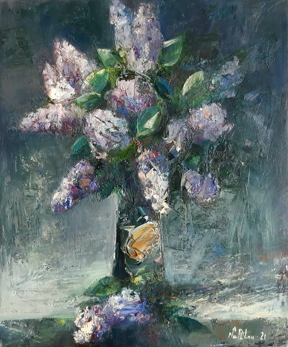 Abstract  lilacs(50x60cm, oil painting, ready to hang)
