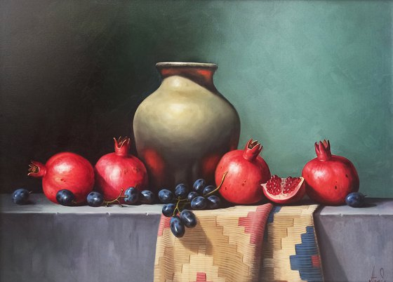 Still life with pomegranates (50x70cm, oil painting, ready to hang)