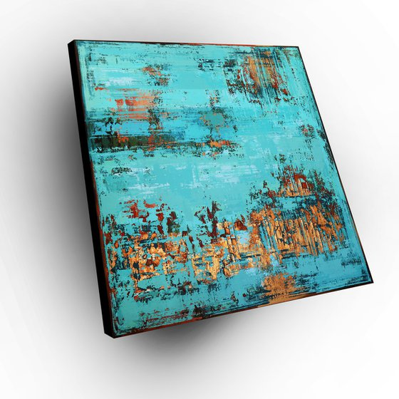 UNDER WATER - 120 x 120 CM - TEXTURED ACRYLIC PAINTING ON CANVAS * TURQUOISE COPPER