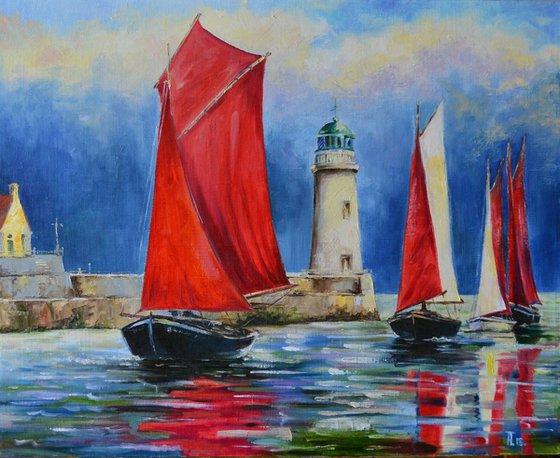 Regatta with scarlet sails