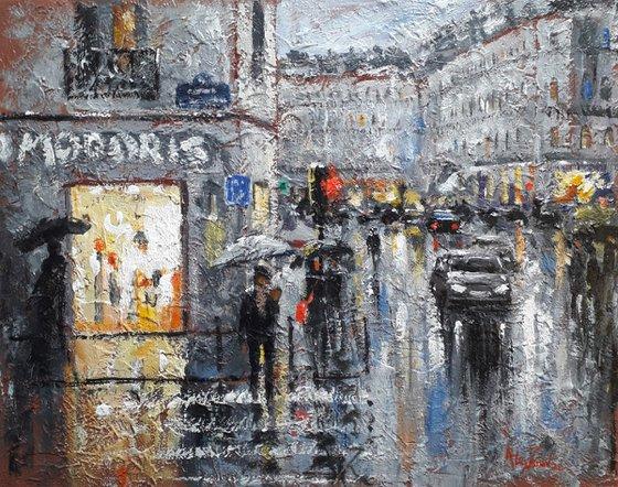Urbanscape. Rain city. Modern impressionism