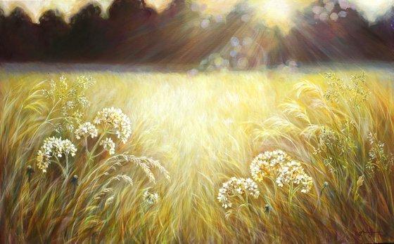 Stillness- Golden Meadow Painting
