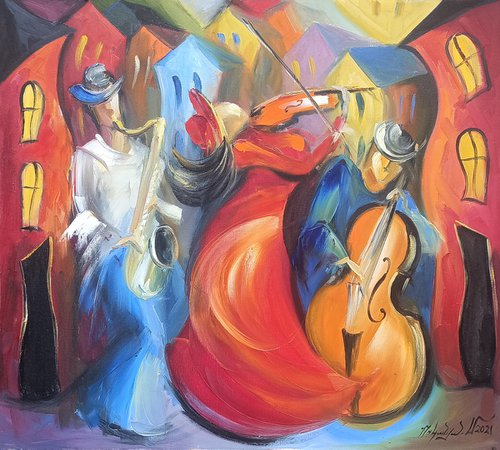 Colors and music (70x80cm, oil painting, ready to hang)