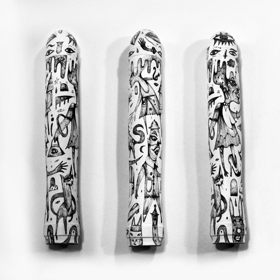 OBJECT OF DESIRE / hand painted dildo, sculpted in wood