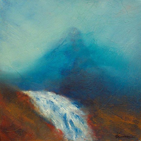 Coigach Waterfall, Scottish mountain landscape
