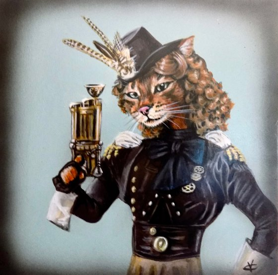 Steampunk cat painting called 'They called her Charity Rose the sharpest shooter in town'.