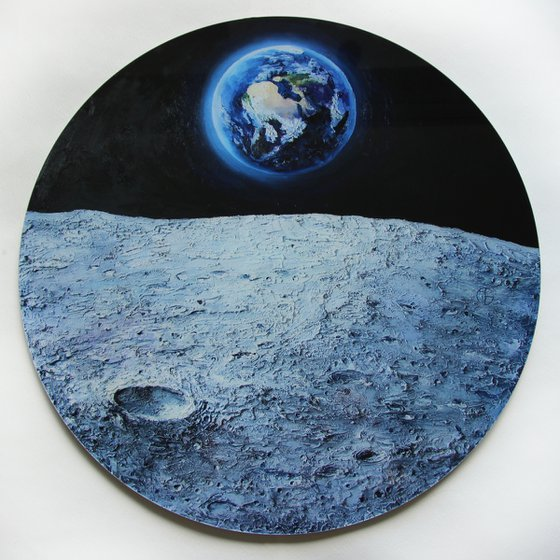 Somewhere on the MOON /  Plexiglass art object planet planets solar sistem round circle space science