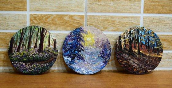 "Spring + Autumn + Winter - Set of 3 oil paintings ""Seasons"" 10 cm round paintings(each)"
