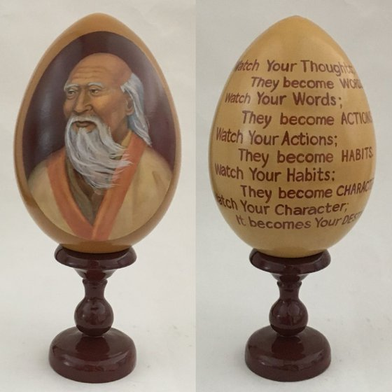 Lao Tzu. Lacquered art painted on wooden egg