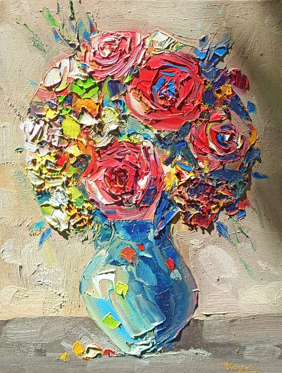 Roses in vase (30x40cm, oil painting,  ready to hang)