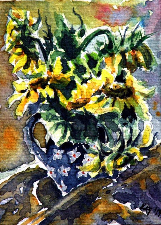 Sunflowers still life - mini artwork /9,5 x 7 cm/