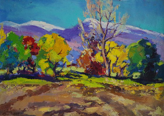 Autumn Palette Landscape Original oil Painting, Impressionism, Painting on canvas, Signed, One of a Kind