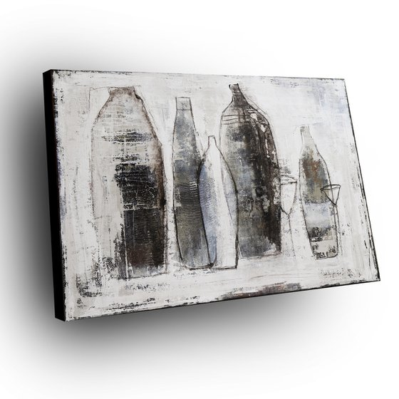 BOTTLES - 110 X 80 CMS - ABSTRACT ACRYLIC PAINTING TEXTURED * WINE * GLASS