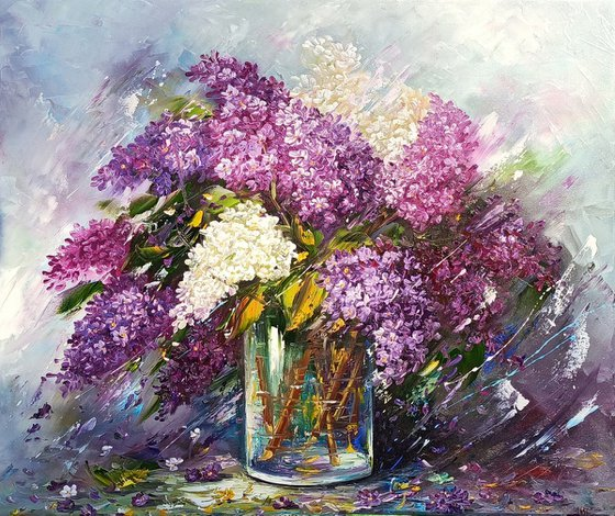 Lilacs(70x60cm, oil painting, palette knife, ready to hang)