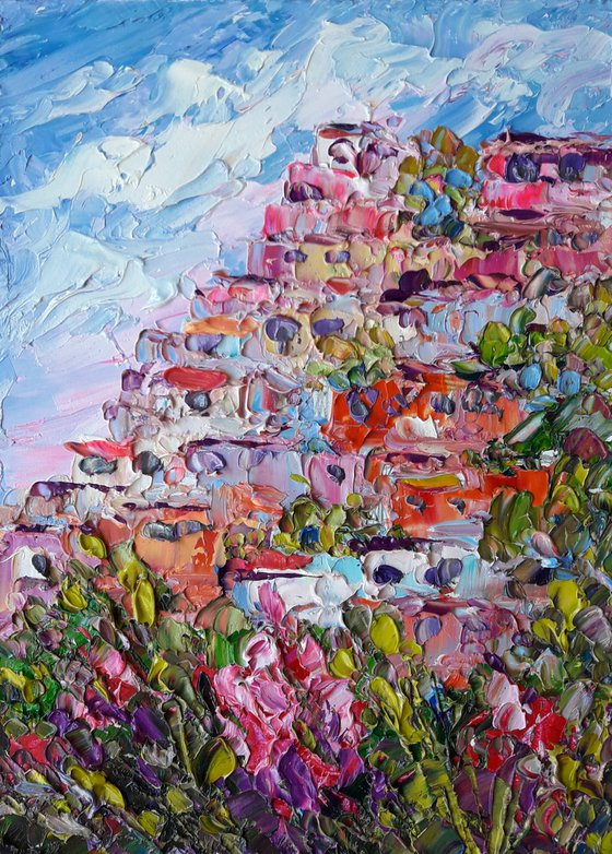 Sunny Positano, Amalfi Coast, painting gift Italy landscape Blooming trees Abstract Art Modern Decor for Home Colorful Artwork gift