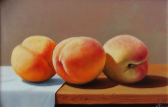 Still life with peaches   (20x30cm, oil painting, ready to hang)